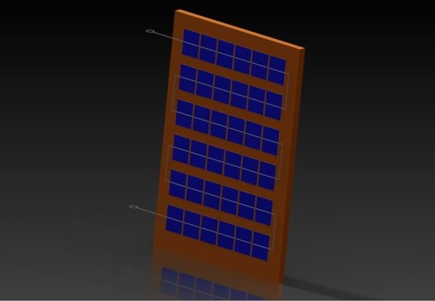 Panou fotovoltaic model 3D solidworks vedere izometrică.